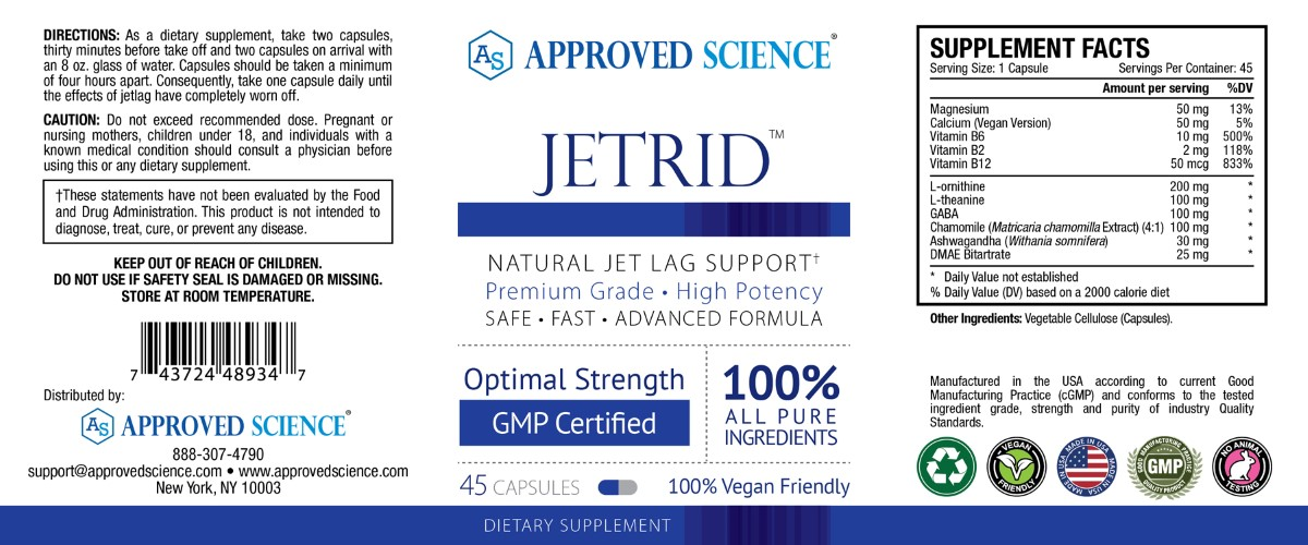 Jetrid Supplement Facts
